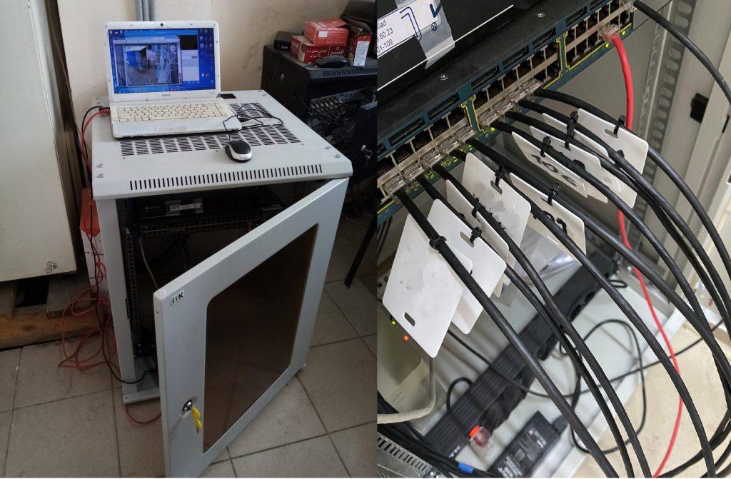 Оборудование установлено в коммуникационный шкаф, кабели промаркированы