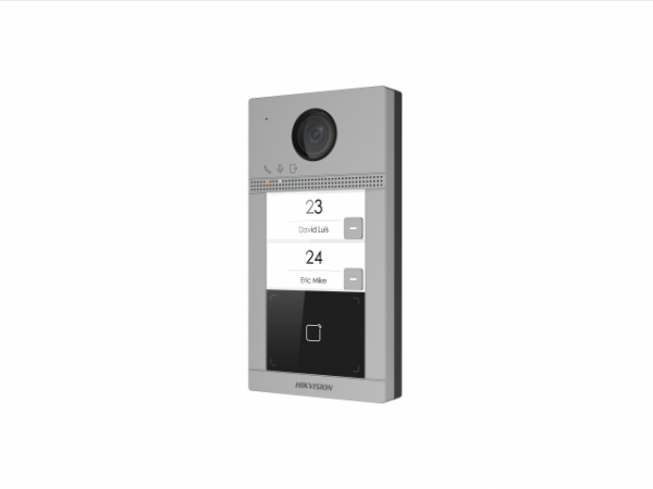 DS-KV8213-WME1 - 2Мп IP вызывная панель на двух абонентов с ИК-подсветкой и Wi-Fi. CMOS 2Мп; Wi-Fi, Web интерфейс;.PoE/12ВDC, Mifare считыватель;. WDR; BLC; DNR; ИК до 3м; Слот для TF карты ;Ethernet,RS485; 2 реле для замка; IP65, IK08